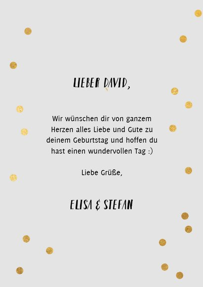 Blaue Konfetti-Glückwunschkarte 'happy bday to you' 3