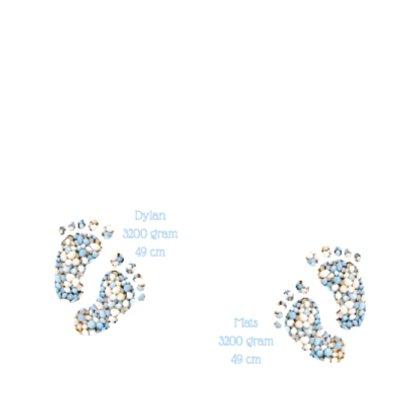 Blauw geboortekaart tweeling voetjes jongens 2