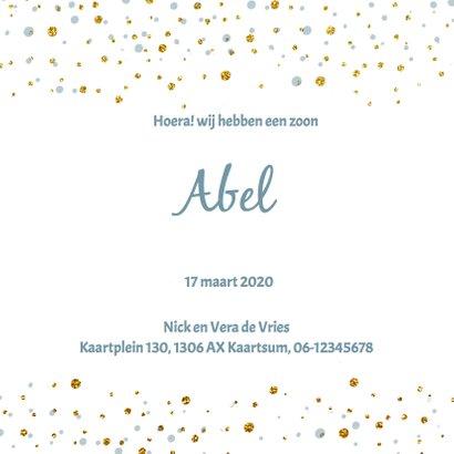 Blauw geboortekaartje goud confetti 3