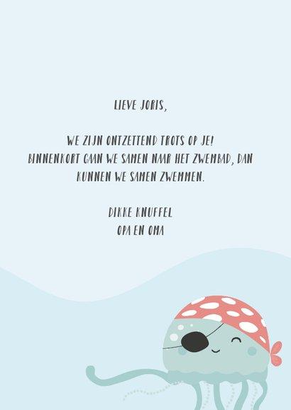 Blauwe kaart met octopus gefeliciteerd met je zwemdiploma 3
