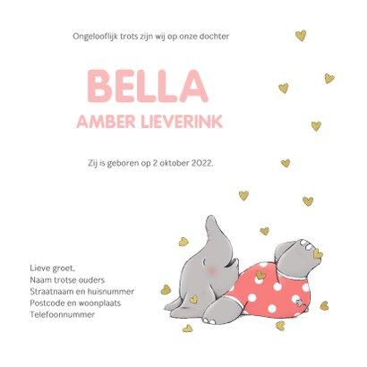 Blij geboortekaartje met vrolijk olifantje en gouden hartjes 3