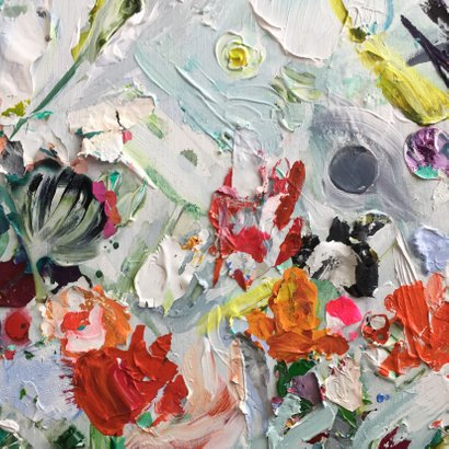 Bloemen kunst eigen txt en achtergrondkleur 2