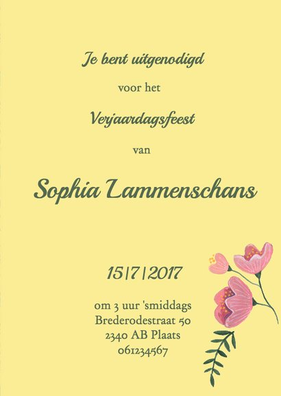 Bloemen uitnodiging leeftijd 3