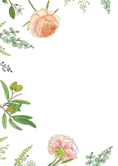Bloemenkaart aquarel  rozen 2
