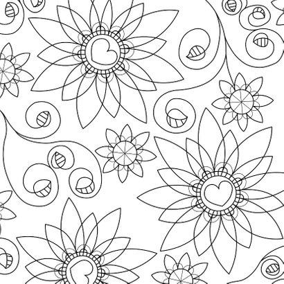Bloemenkaart - fantasie bloemen met kleurplaat 2