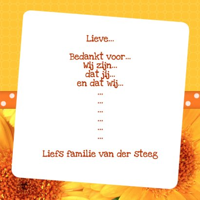 Bloemenkaart Gerbera geel - BK 3