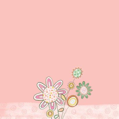 Bloemenkaart plant gezichtje roze - MW 2