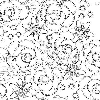 Bloemenkaart - Rozen - met kleurplaat 2