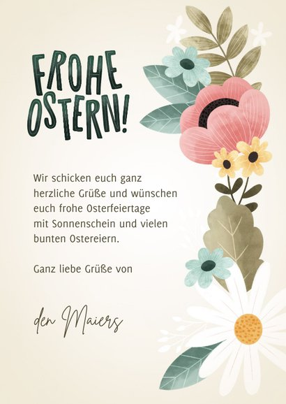 Blumige Karte Frohe Ostern 3