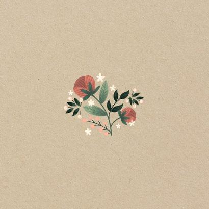 Botanisch bedankkaartje met bloemen, planten en kraftlook Achterkant