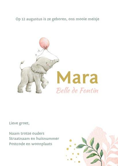 Botanisch geboortekaartje meisje met lief olifantje 3