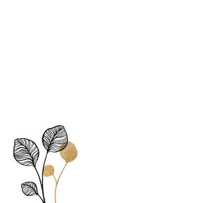 Botanische condoleancekaart met zwart en goud 2