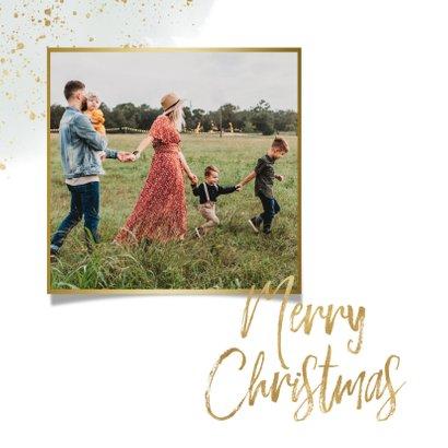 Botanische kerstkaart takje, merry christmas en waterverf 2