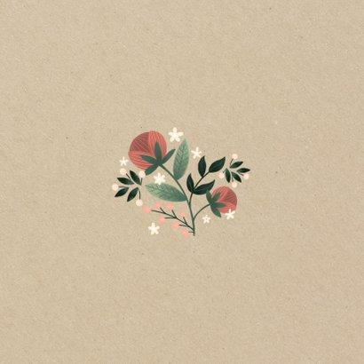 Botanische save the date kaart met bloemen, planten en kraft Achterkant