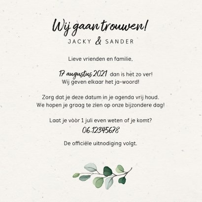 Botanische Save the date kaart met fotocollage 3