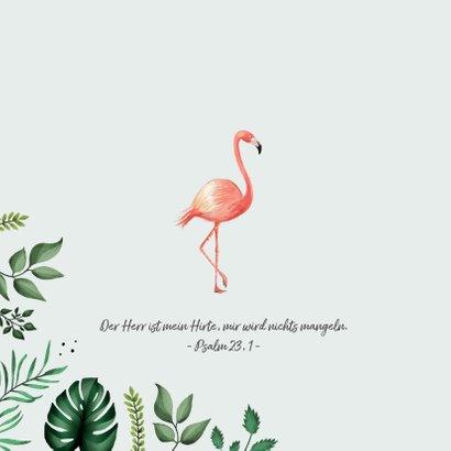 Botanische Taufeinladung Flamingos und Blätter 2