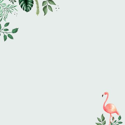 Botanische Taufeinladung Flamingos und Blätter Rückseite