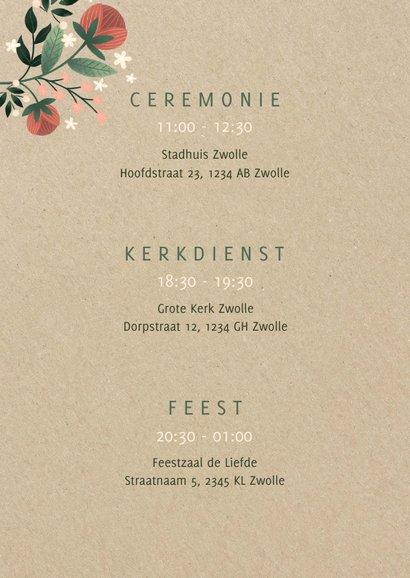 Botanische trouwkaart met bloemen, planten en kraftlook 2