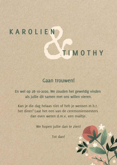 Botanische trouwkaart met bloemen, planten en kraftlook 3