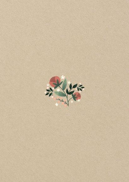 Botanische trouwkaart met bloemen, planten en kraftlook Achterkant