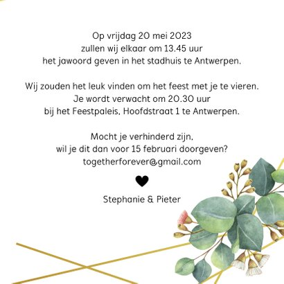 Botanische trouwuitnodiging 3