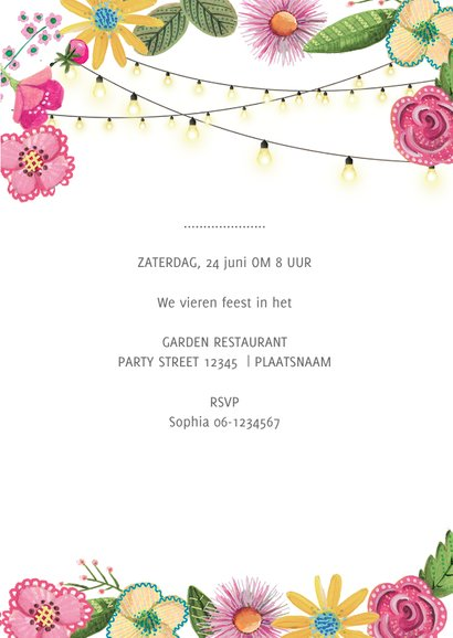 Botanische uitnodiging 21 diner bloemen 3