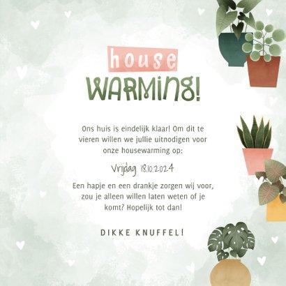 Botanische uitnodiging housewarming met planjes en hartjes 3