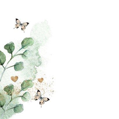 Botanische verjaardagskaart met vlinders 2