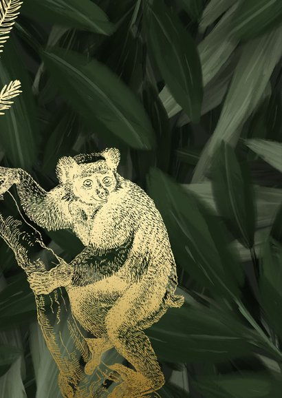 Botanische Weihnachtskarte mit Blättern & goldenem Affen 2