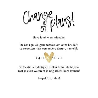 Bruiloft change of plans nieuwe datum annuleren hartje goud 3
