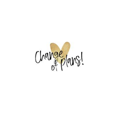 Bruiloft change of plans nieuwe datum annuleren hartje goud Achterkant
