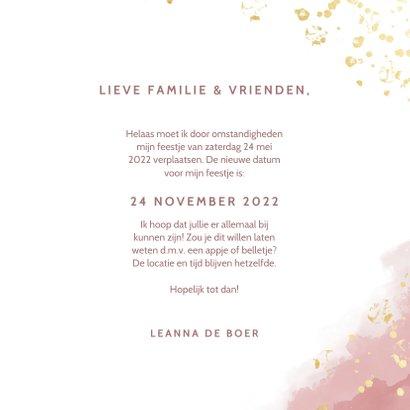 Change of plans uitnodigingskaart roze waterverf en spetters 3