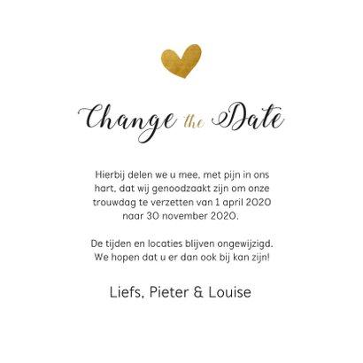 Change the date kaart met goudlook hartjes regen 3