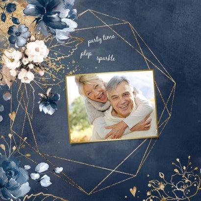 Chique donkerblauwe 40 huwelijksjubileum kaart bloemen 2
