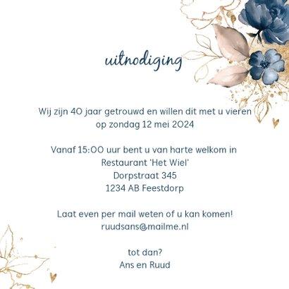 Chique donkerblauwe 40 huwelijksjubileum kaart bloemen 3