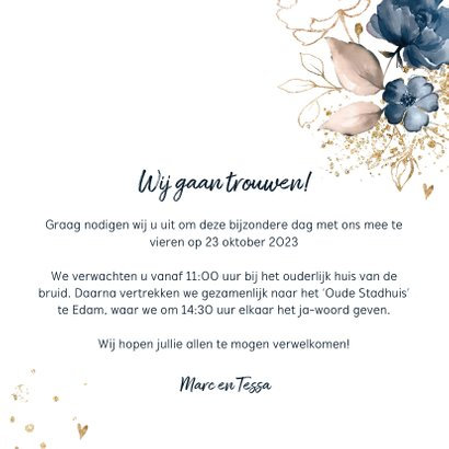Chique trouwkaart donkerblauw bloemen 3