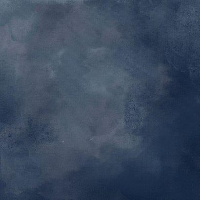 Chique trouwkaart donkerblauw bloemen Achterkant