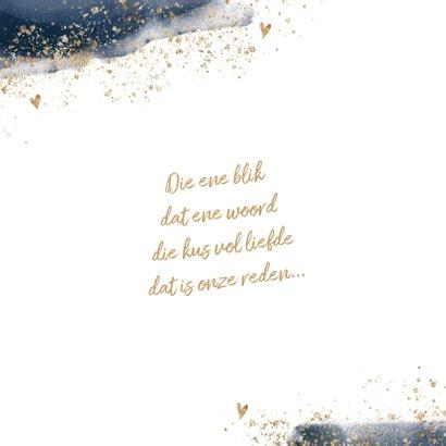 Chique trouwkaart donkerblauw goudlook poeder 2