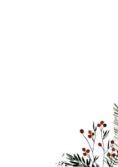 Christelijke kerstkaart bessentakjes Achterkant