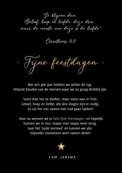 Christelijke kerstkaart geloof hoop en liefde - met sterren 3