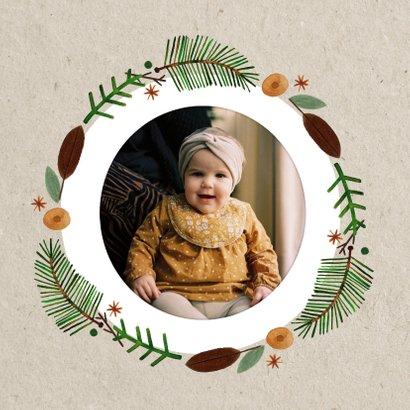 Christelijke kerstkaart gezegende feestdagen kerstkrans 2