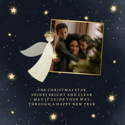 Christelijke Kerstkaart met engel foto en sterren 2