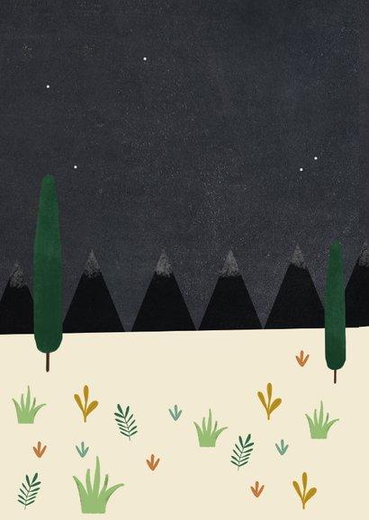 Christelijke kerstkaart met planten en huisje illustratie Achterkant