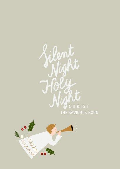 Christelijke kerstkaart met typografie en illustraties 2