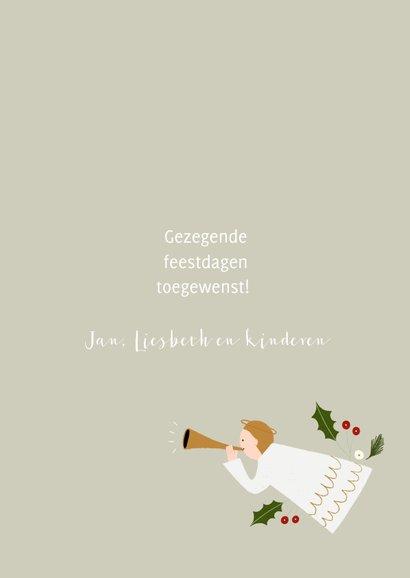 Christelijke kerstkaart met typografie en illustraties 3
