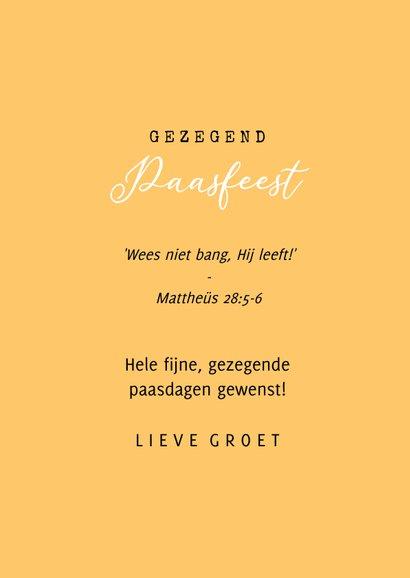 Christelijke paaskaart tulpen geel oranje gezegend pasen 3