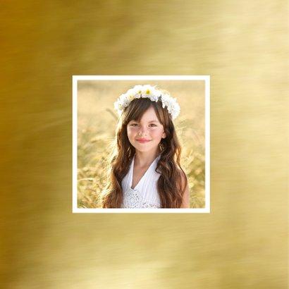 Communie bedankkaart fotocollage goud 2