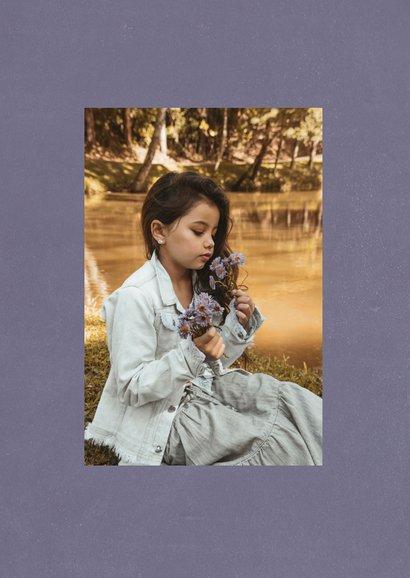 Communie bedankkaart klassieke letters en grote foto 2