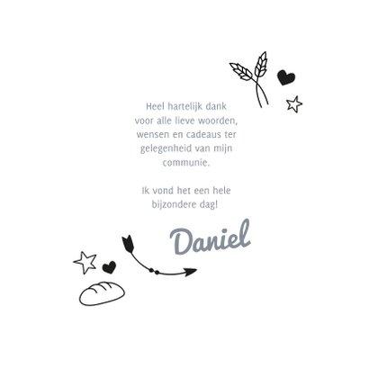 Communie bedankkaartje met foto en doodles 3
