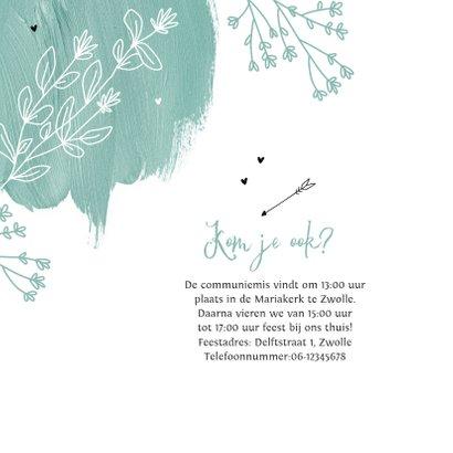 Communie feest uitnodiging verf bloemen hartjes lentefeest 2